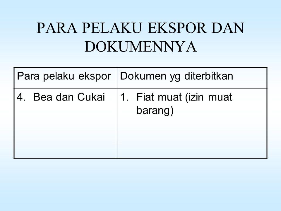 PARA PELAKU EKSPOR DAN DOKUMENNYA Para pelaku eksporDokumen yg diterbitkan 3.Bank1.Kontrak / Akad Kredit 2.L/C 3.Surat Setoran Pajak (SSP) 4.Surat Set