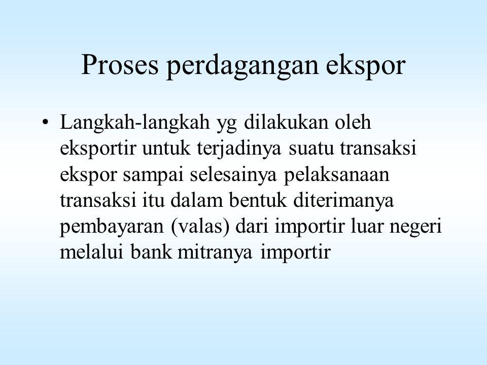 Proses perdagangan ekspor Langkah-langkah yg dilakukan oleh eksportir untuk terjadinya suatu transaksi ekspor sampai selesainya pelaksanaan transaksi itu dalam bentuk diterimanya pembayaran (valas) dari importir luar negeri melalui bank mitranya importir