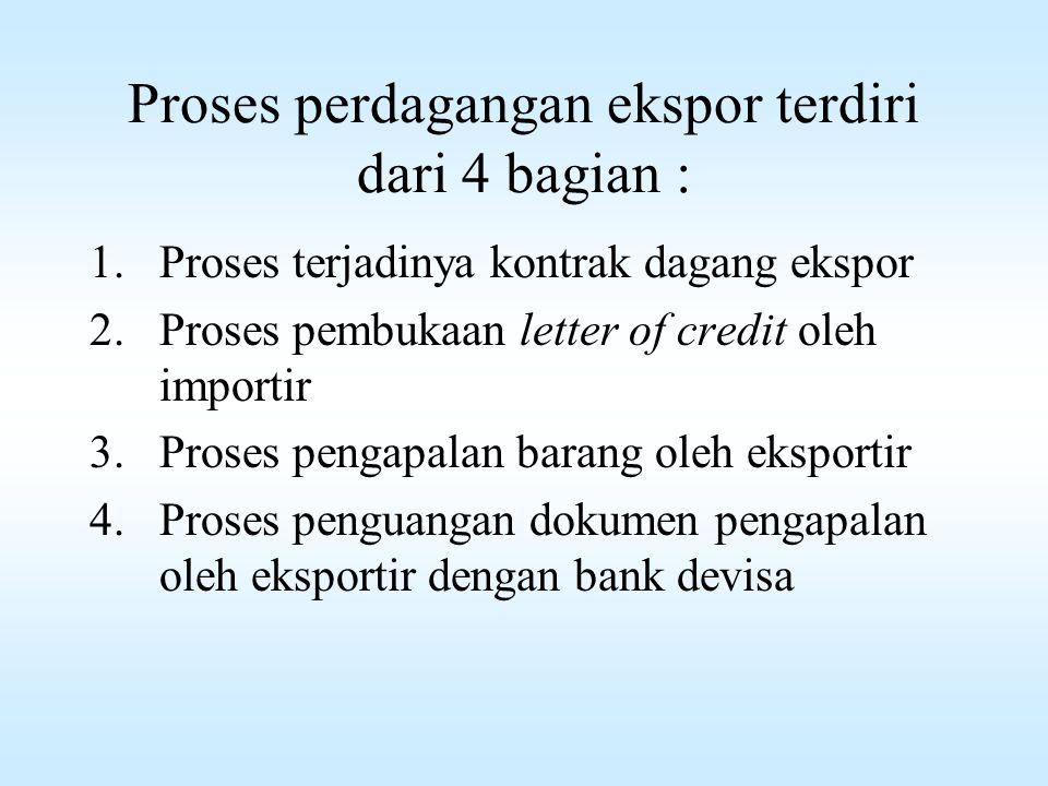 Proses perdagangan ekspor terdiri dari 4 bagian : 1.Proses terjadinya kontrak dagang ekspor 2.Proses pembukaan letter of credit oleh importir 3.Proses pengapalan barang oleh eksportir 4.Proses penguangan dokumen pengapalan oleh eksportir dengan bank devisa