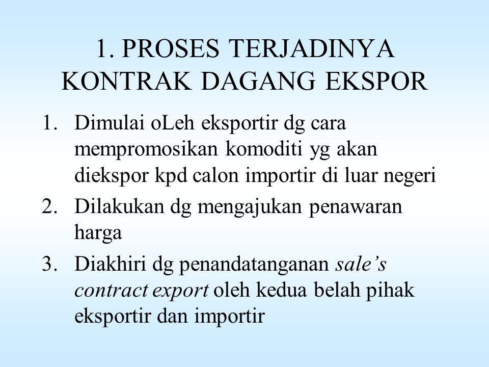Proses perdagangan ekspor terdiri dari 4 bagian : 1.Proses terjadinya kontrak dagang ekspor 2.Proses pembukaan letter of credit oleh importir 3.Proses