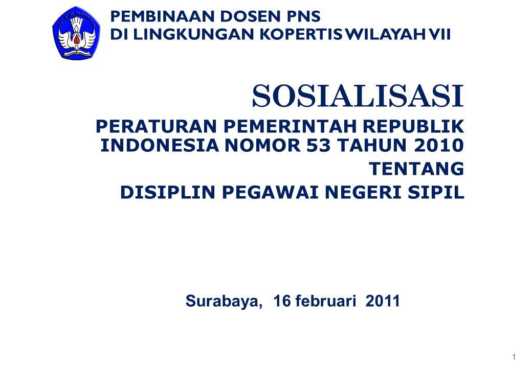 SOSIALISASI PERATURAN PEMERINTAH REPUBLIK INDONESIA NOMOR 53 TAHUN 2010 TENTANG DISIPLIN PEGAWAI NEGERI SIPIL 1 Surabaya, 16 februari 2011 PEMBINAAN D