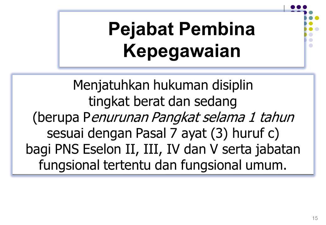 15 Pejabat Pembina Kepegawaian Menjatuhkan hukuman disiplin tingkat berat dan sedang (berupa Penurunan Pangkat selama 1 tahun sesuai dengan Pasal 7 ay