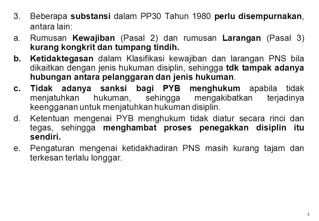 3.Beberapa substansi dalam PP30 Tahun 1980 perlu disempurnakan, antara lain: a.Rumusan Kewajiban (Pasal 2) dan rumusan Larangan (Pasal 3) kurang kongk