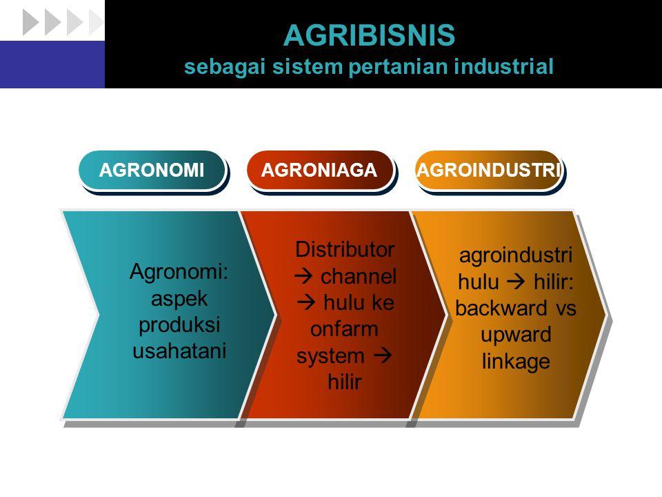 AGRIBISNIS sebagai sistem pertanian industrial AGRONOMI AGRONIAGA AGROINDUSTRI Agronomi: aspek produksi usahatani Distributor  channel  hulu ke onfa