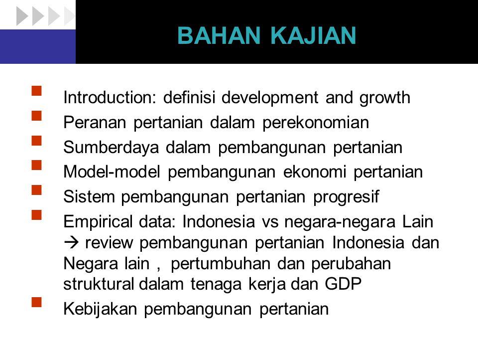 BAHAN KAJIAN  Introduction: definisi development and growth  Peranan pertanian dalam perekonomian  Sumberdaya dalam pembangunan pertanian  Model-m