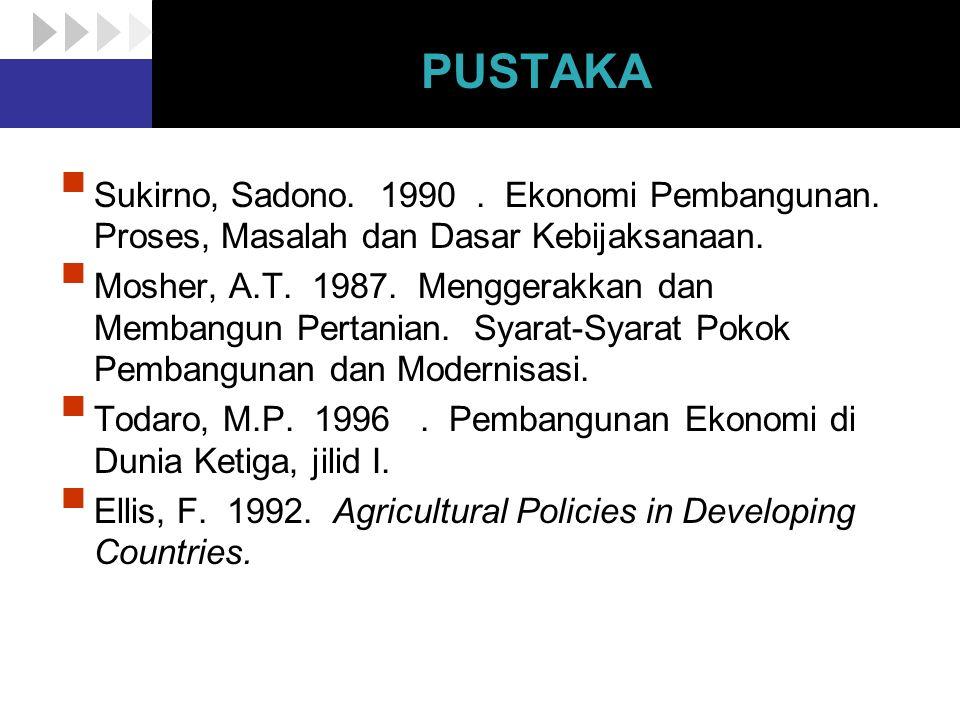 PUSTAKA  Sukirno, Sadono. 1990. Ekonomi Pembangunan. Proses, Masalah dan Dasar Kebijaksanaan.  Mosher, A.T. 1987. Menggerakkan dan Membangun Pertani
