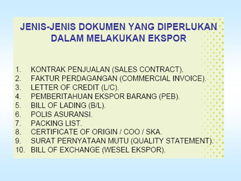 7.Cara pembuatan dokumen 8.Perusahaan pelayaran mana yg ditunjuk 9.Nama Bank pengirim L/C (advising bank) 10.Jenis, bentuk & cara penyampaian L/C 11.Pihak yang menanggung biaya L/C 12.Cara penyelesaian claim 13.Klausal asuransi 14.Pelabuhan muat & pelabuhan bongkar termasuk (Place of delivery & Place of receipt ) 15.Tanggal pengapalan terakhir & berlakunya L/C 16.Jangka waktu penyerahan dokumen 17.Shipping marks pada kemasan & 18.Special condition.