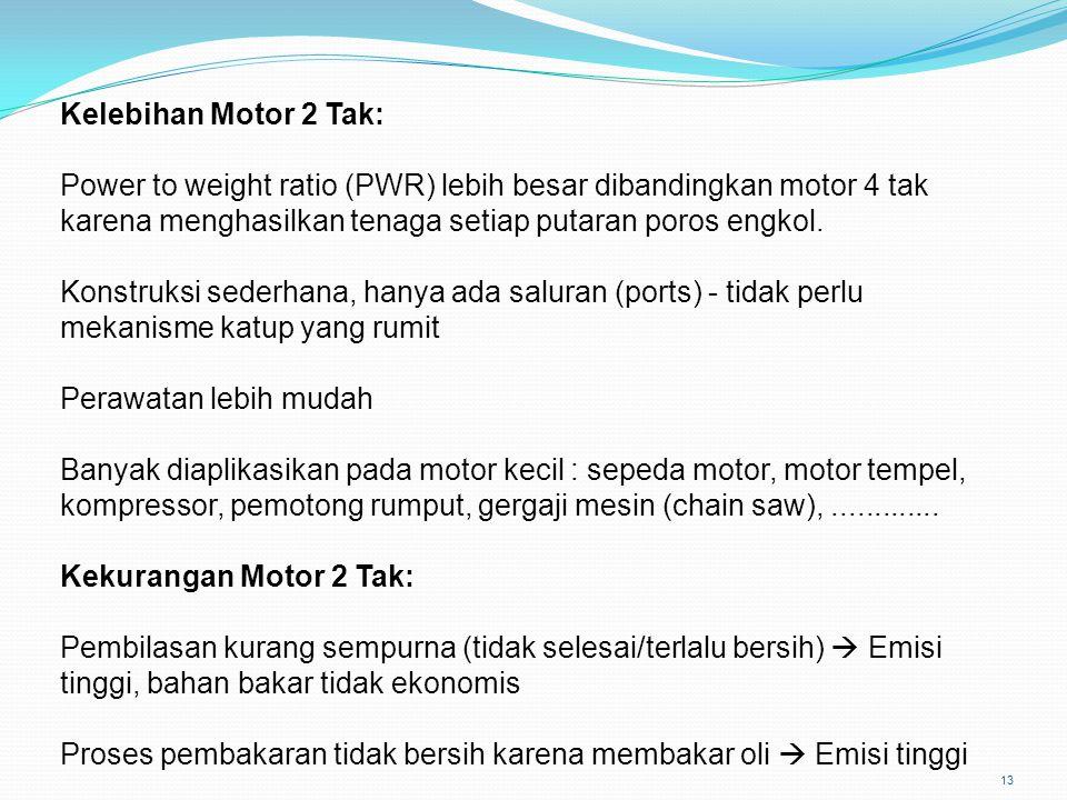 13 Kelebihan Motor 2 Tak: Power to weight ratio (PWR) lebih besar dibandingkan motor 4 tak karena menghasilkan tenaga setiap putaran poros engkol. Kon