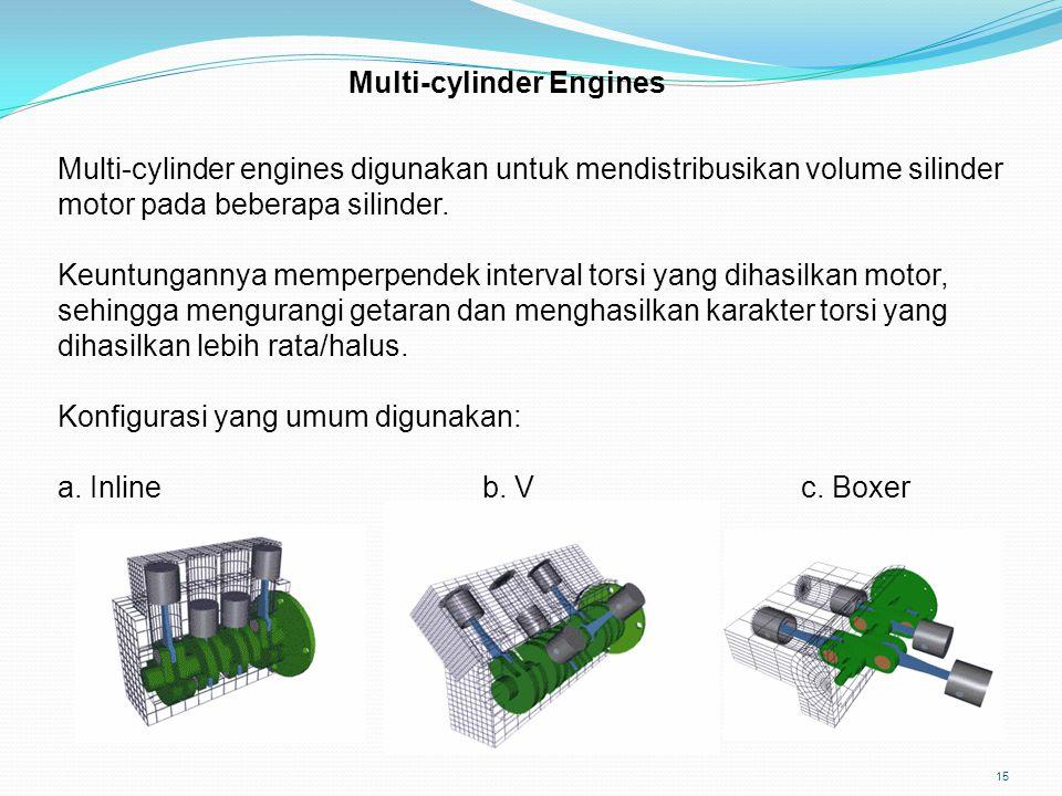 15 Multi-cylinder Engines Multi-cylinder engines digunakan untuk mendistribusikan volume silinder motor pada beberapa silinder. Keuntungannya memperpe