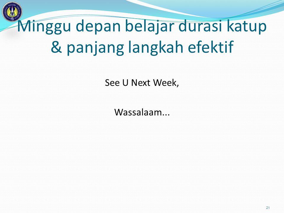 Minggu depan belajar durasi katup & panjang langkah efektif See U Next Week, Wassalaam... 21