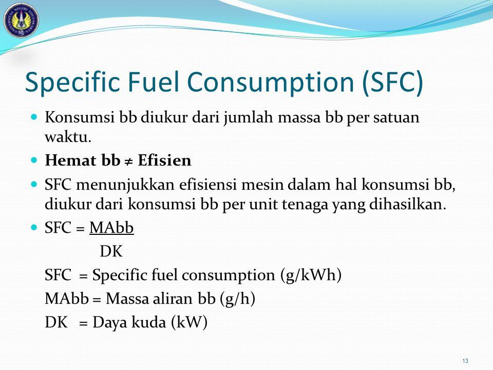 Specific Fuel Consumption (SFC) Konsumsi bb diukur dari jumlah massa bb per satuan waktu. Hemat bb ≠ Efisien SFC menunjukkan efisiensi mesin dalam hal