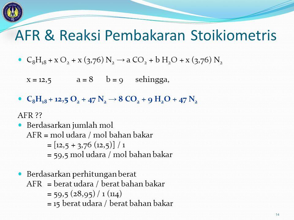 14 AFR & Reaksi Pembakaran Stoikiometris C 8 H 18 + x O 2 + x (3,76) N 2 → a CO 2 + b H 2 O + x (3,76) N 2 x = 12,5a = 8b = 9sehingga, C 8 H 18 + 12,5