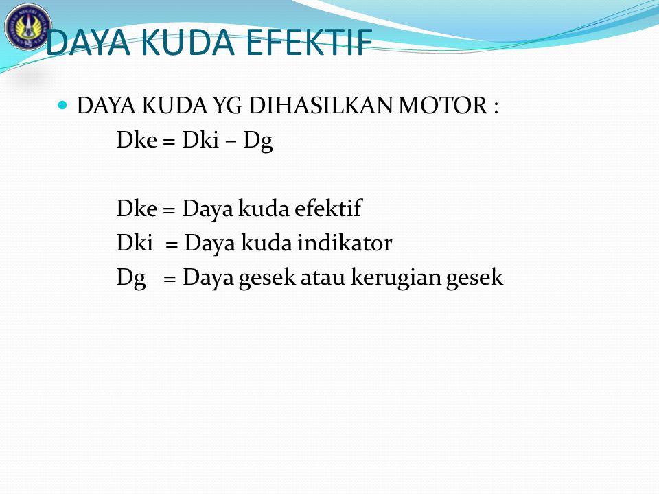 DAYA KUDA EFEKTIF DAYA KUDA YG DIHASILKAN MOTOR : Dke = Dki – Dg Dke = Daya kuda efektif Dki = Daya kuda indikator Dg = Daya gesek atau kerugian gesek