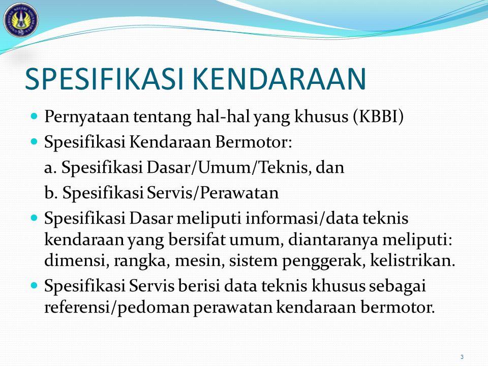 SPESIFIKASI KENDARAAN Pernyataan tentang hal-hal yang khusus (KBBI) Spesifikasi Kendaraan Bermotor: a. Spesifikasi Dasar/Umum/Teknis, dan b. Spesifika