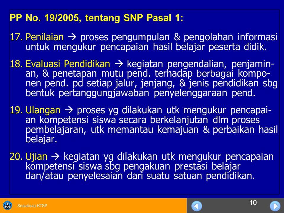 Sosialisasi KTSP PP No. 19/2005, tentang SNP Pasal 1: 17.Penilaian  proses pengumpulan & pengolahan informasi untuk mengukur pencapaian hasil belajar