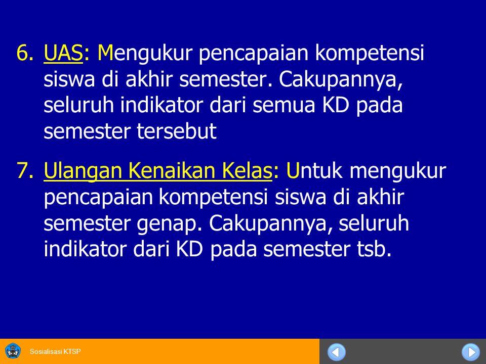 Sosialisasi KTSP 6.UAS: Mengukur pencapaian kompetensi siswa di akhir semester.