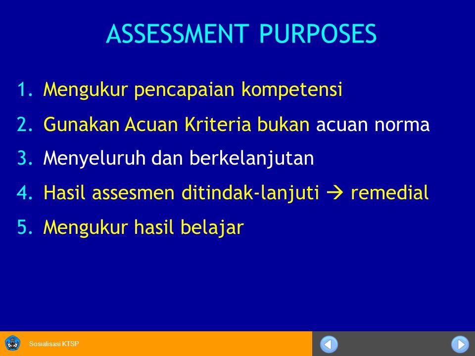 Sosialisasi KTSP 1.Mengukur pencapaian kompetensi 2.Gunakan Acuan Kriteria bukan acuan norma 3.Menyeluruh dan berkelanjutan 4.Hasil assesmen ditindak-lanjuti  remedial 5.Mengukur hasil belajar ASSESSMENT PURPOSES