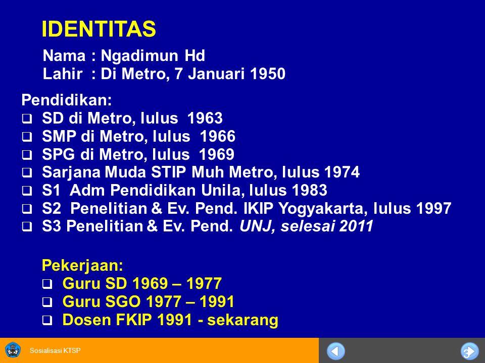 Sosialisasi KTSP 3 IDENTITAS Nama: Ngadimun Hd Lahir: Di Metro, 7 Januari 1950 Pendidikan:  SD di Metro, lulus 1963  SMP di Metro, lulus 1966  SPG