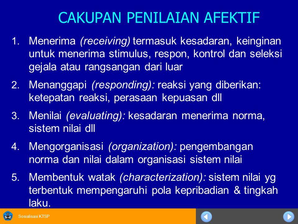 Sosialisasi KTSP CAKUPAN PENILAIAN AFEKTIF 1.