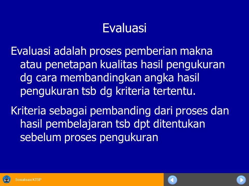 Sosialisasi KTSP Evaluasi Evaluasi adalah proses pemberian makna atau penetapan kualitas hasil pengukuran dg cara membandingkan angka hasil pengukuran tsb dg kriteria tertentu.