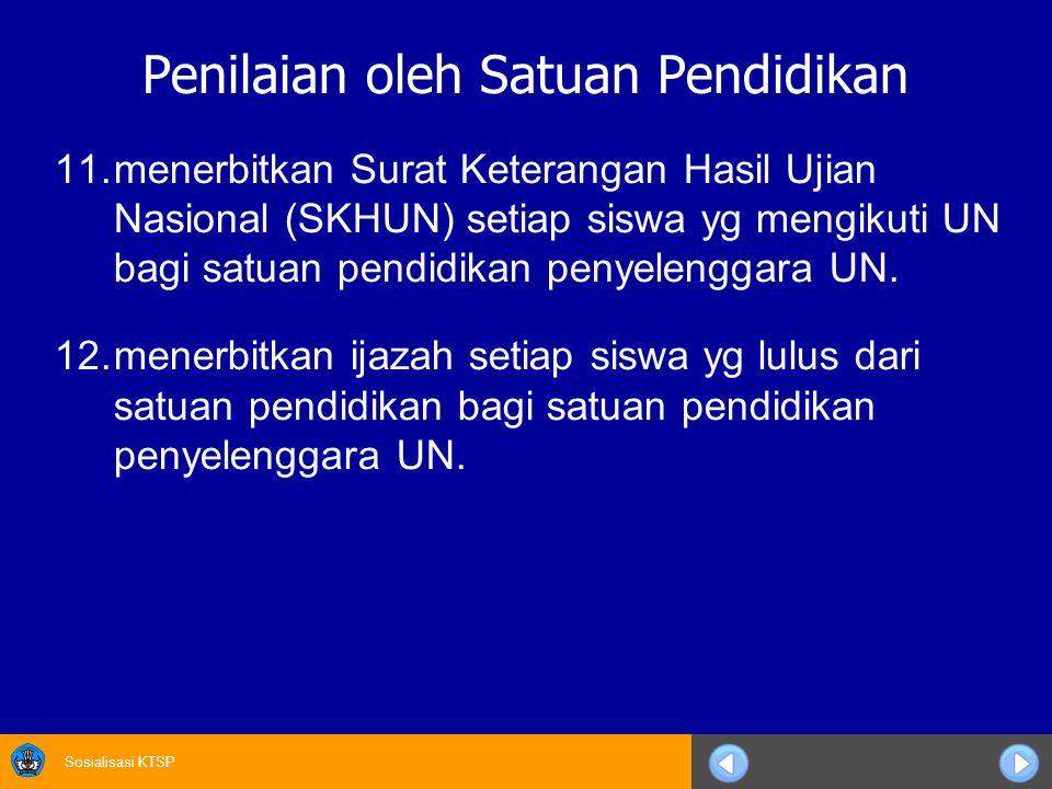 Sosialisasi KTSP Penilaian oleh Satuan Pendidikan 11.menerbitkan Surat Keterangan Hasil Ujian Nasional (SKHUN) setiap siswa yg mengikuti UN bagi satuan pendidikan penyelenggara UN.