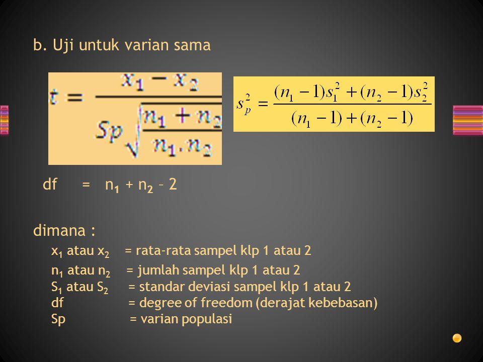b. Uji untuk varian sama df = n 1 + n 2 – 2 dimana : x 1 atau x 2 = rata-rata sampel klp 1 atau 2 n 1 atau n 2 = jumlah sampel klp 1 atau 2 S 1 atau S