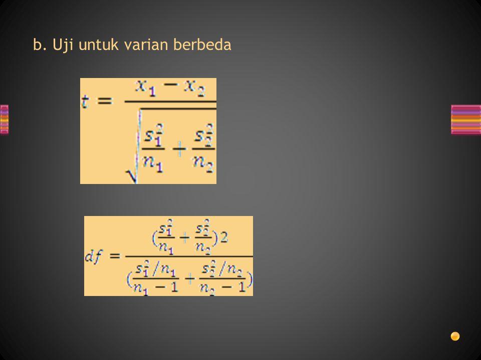 b. Uji untuk varian berbeda