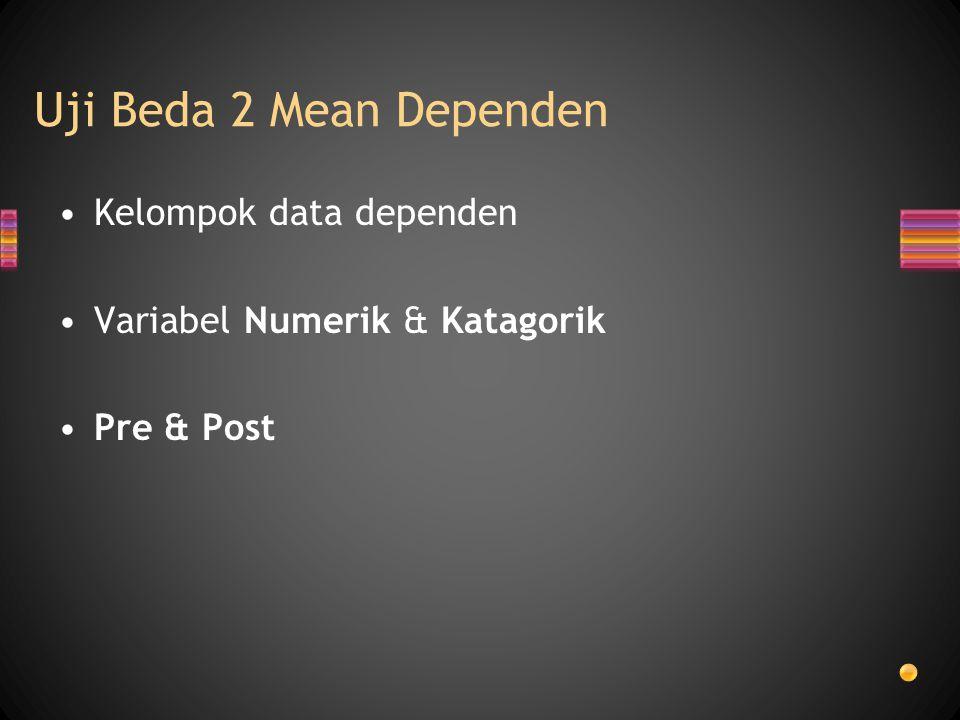 Uji Beda 2 Mean Dependen Kelompok data dependen Variabel Numerik & Katagorik Pre & Post