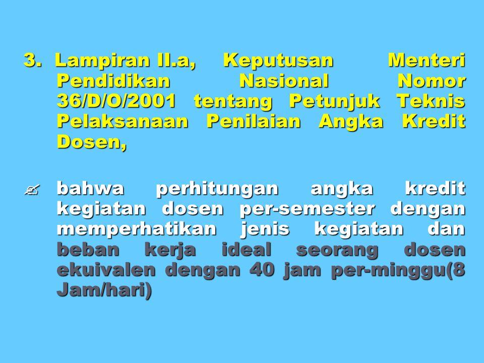 3. Lampiran II.a, Keputusan Menteri Pendidikan Nasional Nomor 36/D/O/2001 tentang Petunjuk Teknis Pelaksanaan Penilaian Angka Kredit Dosen,  bahwa pe