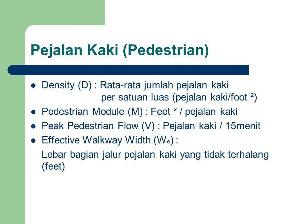 Pejalan Kaki (Pedestrian) Density (D) : Rata-rata jumlah pejalan kaki per satuan luas (pejalan kaki/foot ²) Pedestrian Module (M) : Feet ² / pejalan k
