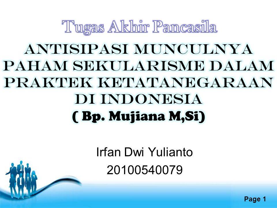 Free Powerpoint Templates Page 1 Irfan Dwi Yulianto 20100540079