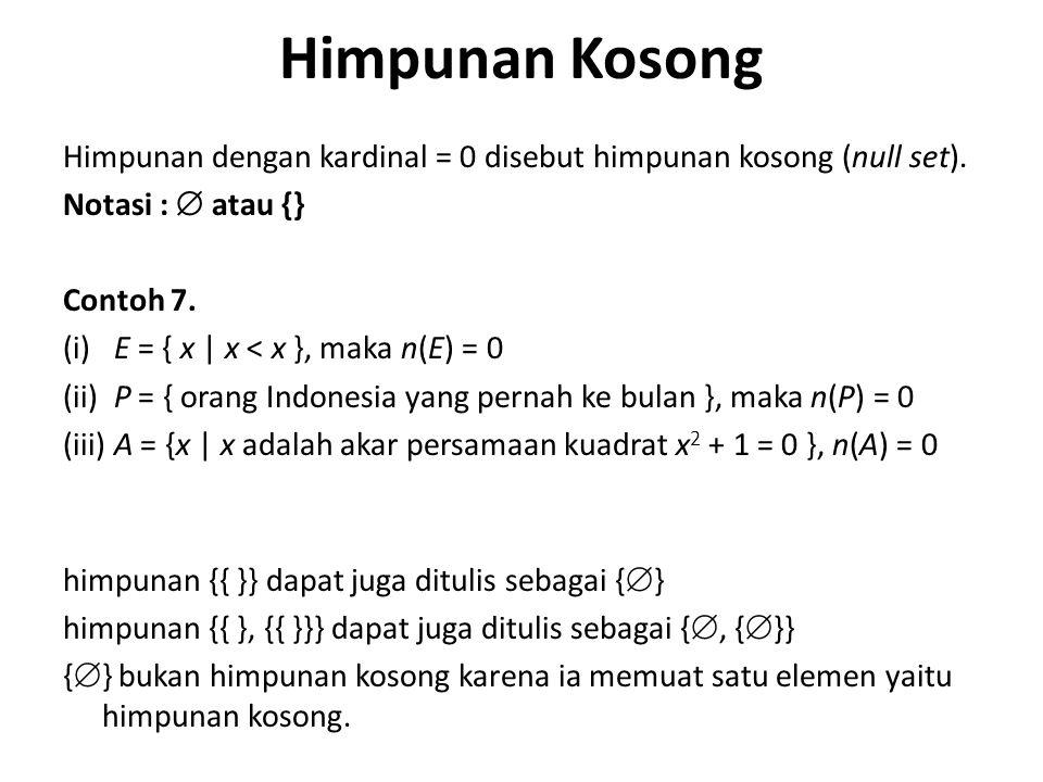 Himpunan Kosong Himpunan dengan kardinal = 0 disebut himpunan kosong (null set). Notasi :  atau {} Contoh 7. (i) E = { x | x < x }, maka n(E) = 0 (ii