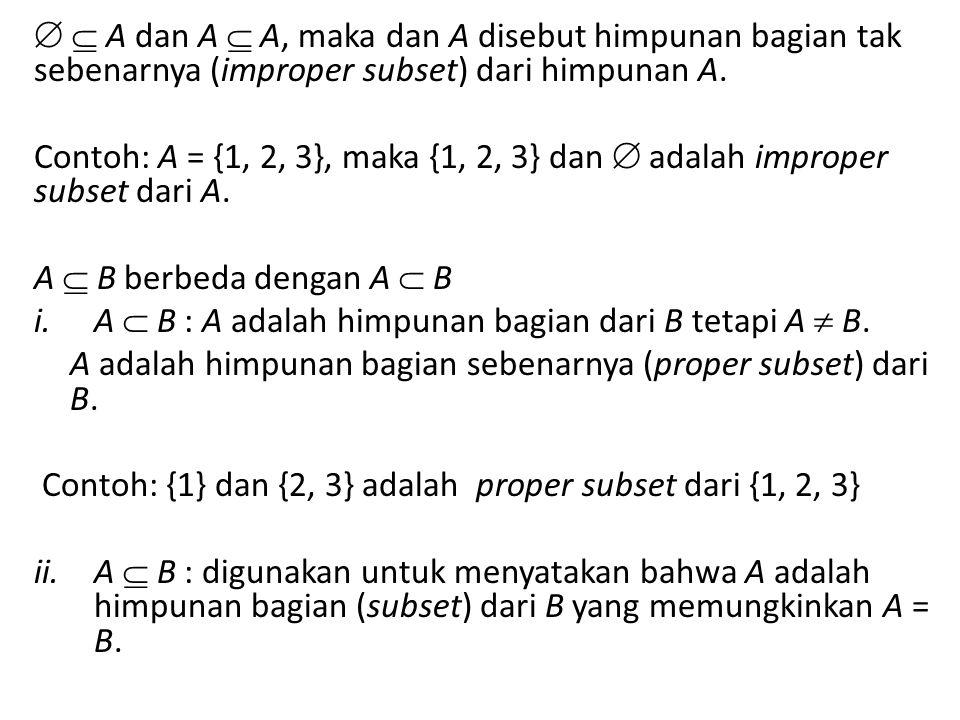   A dan A  A, maka dan A disebut himpunan bagian tak sebenarnya (improper subset) dari himpunan A. Contoh: A = {1, 2, 3}, maka {1, 2, 3} dan  adal
