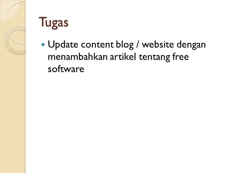 Tugas Update content blog / website dengan menambahkan artikel tentang free software