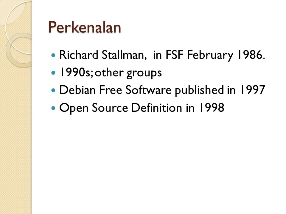 Perkenalan Richard Stallman, in FSF February 1986.