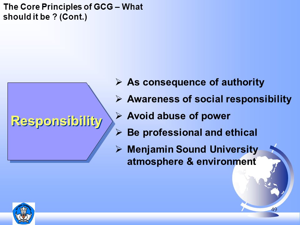 49 The Core Principles of GCG – What should it be ? (Cont.) Responsibility  As consequence of authority  Awareness of social responsibility  Avoid