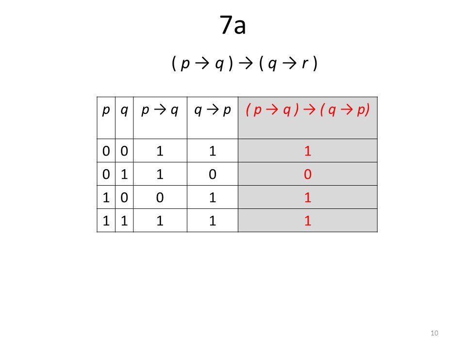 7a ( p → q ) → ( q → r ) pqp → qq → p( p → q ) → ( q → p) 00111 01100 10011 11111 10