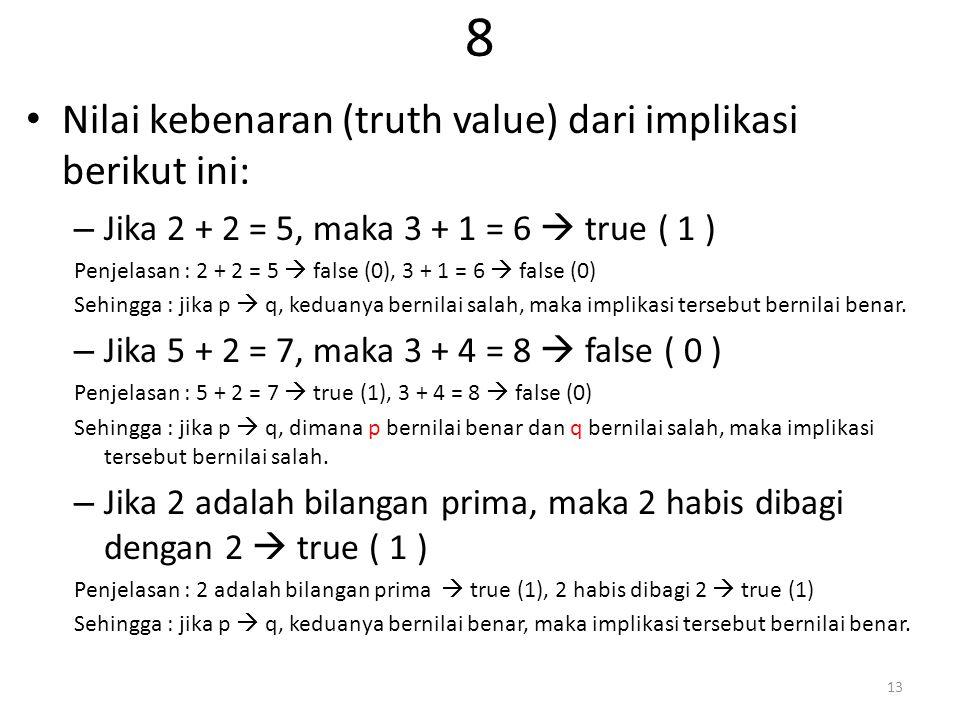 8 Nilai kebenaran (truth value) dari implikasi berikut ini: – Jika 2 + 2 = 5, maka 3 + 1 = 6  true ( 1 ) Penjelasan : 2 + 2 = 5  false (0), 3 + 1 = 6  false (0) Sehingga : jika p  q, keduanya bernilai salah, maka implikasi tersebut bernilai benar.