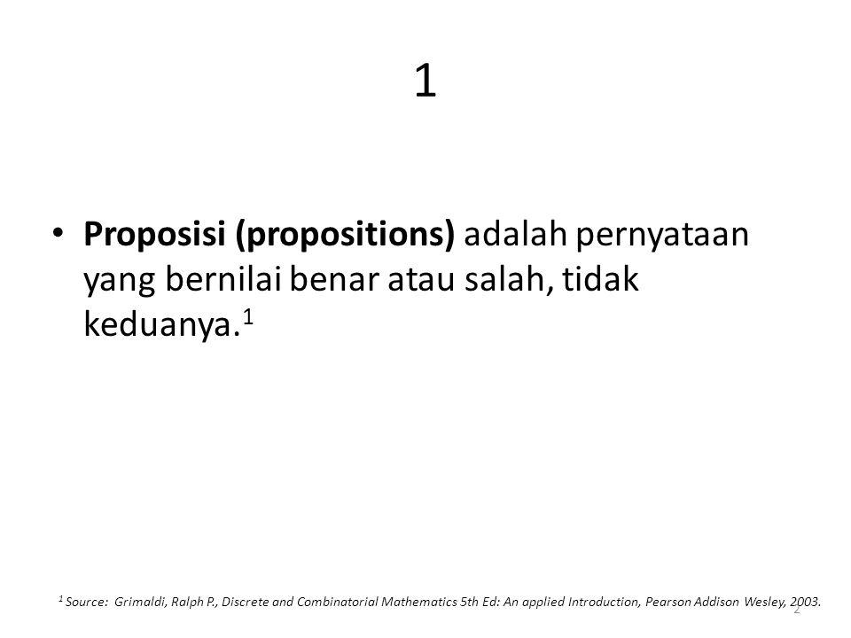 1 Proposisi (propositions) adalah pernyataan yang bernilai benar atau salah, tidak keduanya.