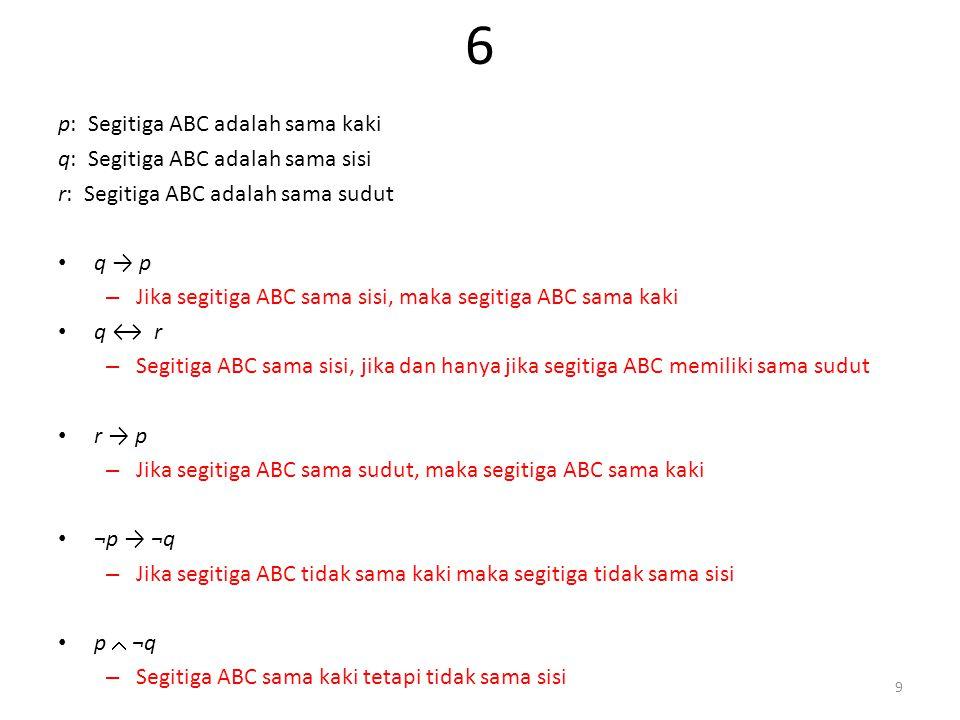 6 p: Segitiga ABC adalah sama kaki q: Segitiga ABC adalah sama sisi r: Segitiga ABC adalah sama sudut q → p – Jika segitiga ABC sama sisi, maka segitiga ABC sama kaki q ↔ r – Segitiga ABC sama sisi, jika dan hanya jika segitiga ABC memiliki sama sudut r → p – Jika segitiga ABC sama sudut, maka segitiga ABC sama kaki ¬p → ¬q – Jika segitiga ABC tidak sama kaki maka segitiga tidak sama sisi p  ¬q – Segitiga ABC sama kaki tetapi tidak sama sisi 9