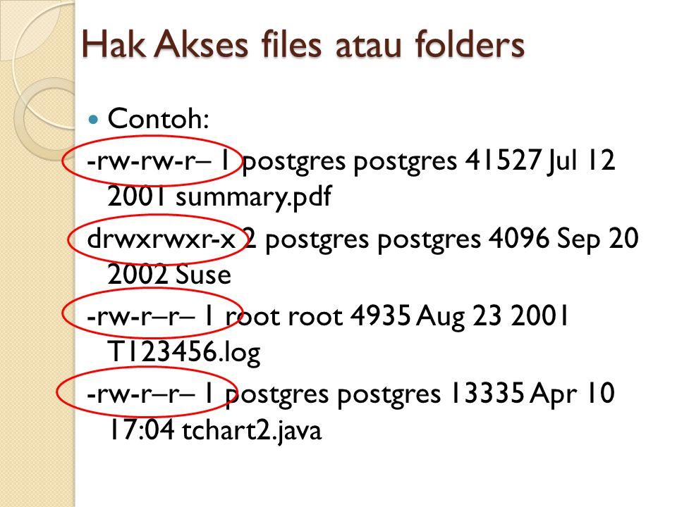Hak Akses files atau folders Contoh: -rw-rw-r– 1 postgres postgres 41527 Jul 12 2001 summary.pdf drwxrwxr-x 2 postgres postgres 4096 Sep 20 2002 Suse -rw-r–r– 1 root root 4935 Aug 23 2001 T123456.log -rw-r–r– 1 postgres postgres 13335 Apr 10 17:04 tchart2.java