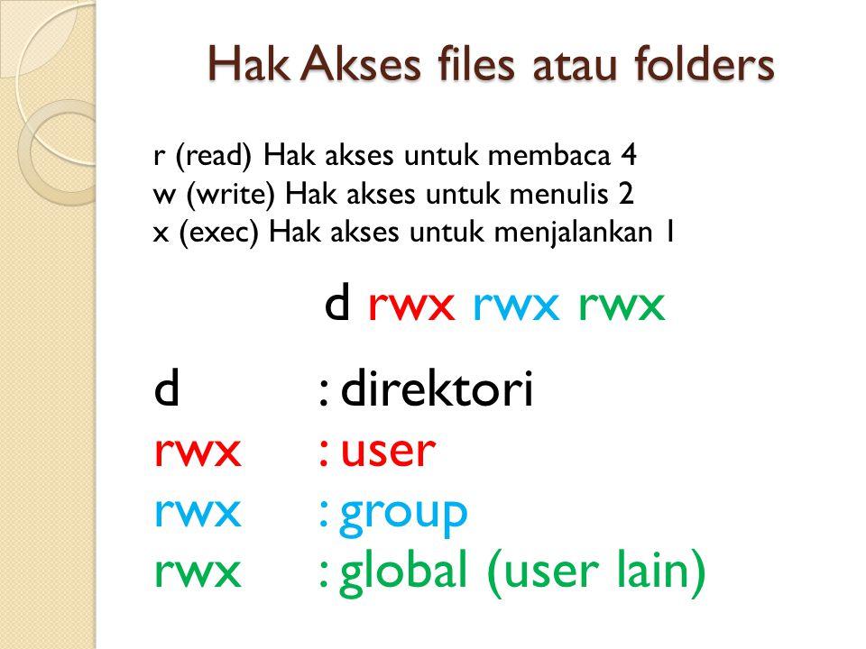 Hak Akses files atau folders r (read) Hak akses untuk membaca 4 w (write) Hak akses untuk menulis 2 x (exec) Hak akses untuk menjalankan 1 d rwx rwx rwx d: direktori rwx: user rwx: group rwx: global (user lain)