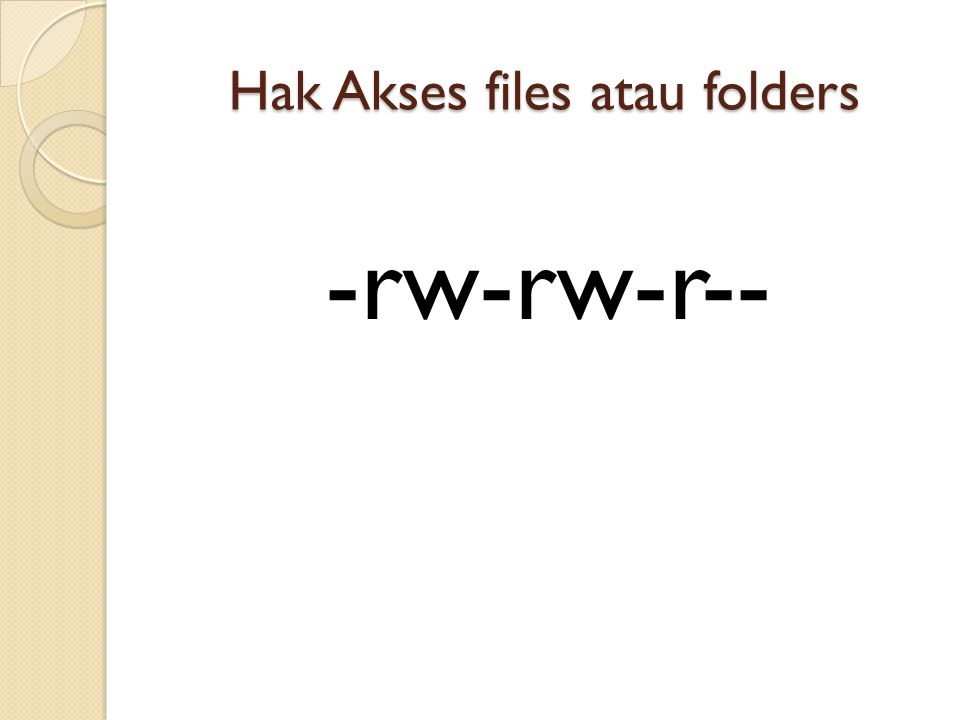 Hak Akses files atau folders -rw-rw-r--