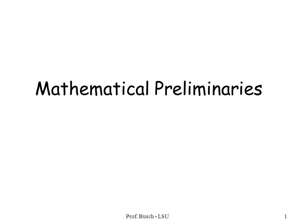 Prof. Busch - LSU12 Disjoint Sets A = { 1, 2, 3 } B = { 5, 6} A B = U AB