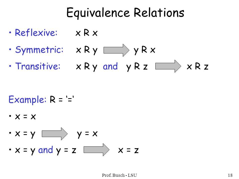 Prof. Busch - LSU18 Equivalence Relations Reflexive: x R x Symmetric: x R y y R x Transitive: x R y and y R z x R z Example: R = '=' x = x x = y y = x