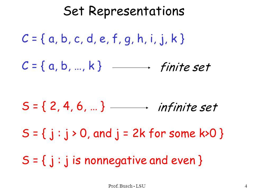 Prof. Busch - LSU4 Set Representations C = { a, b, c, d, e, f, g, h, i, j, k } C = { a, b, …, k } S = { 2, 4, 6, … } S = { j : j > 0, and j = 2k for s
