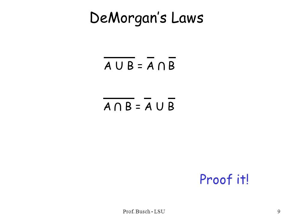 Prof. Busch - LSU9 DeMorgan's Laws A U B = A B U A B = A U B U Proof it!