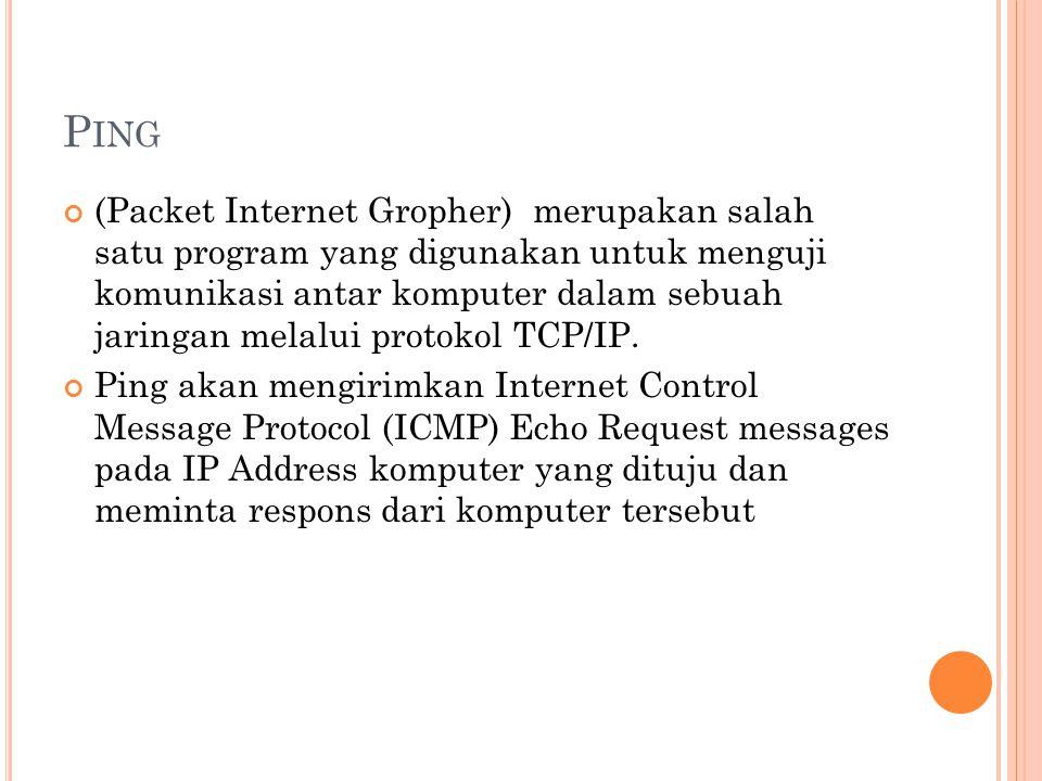 P ING (Packet Internet Gropher) merupakan salah satu program yang digunakan untuk menguji komunikasi antar komputer dalam sebuah jaringan melalui protokol TCP/IP.