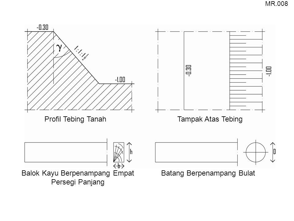 Profil Tebing TanahTampak Atas Tebing Balok Kayu Berpenampang Empat Persegi Panjang Batang Berpenampang Bulat MR.008