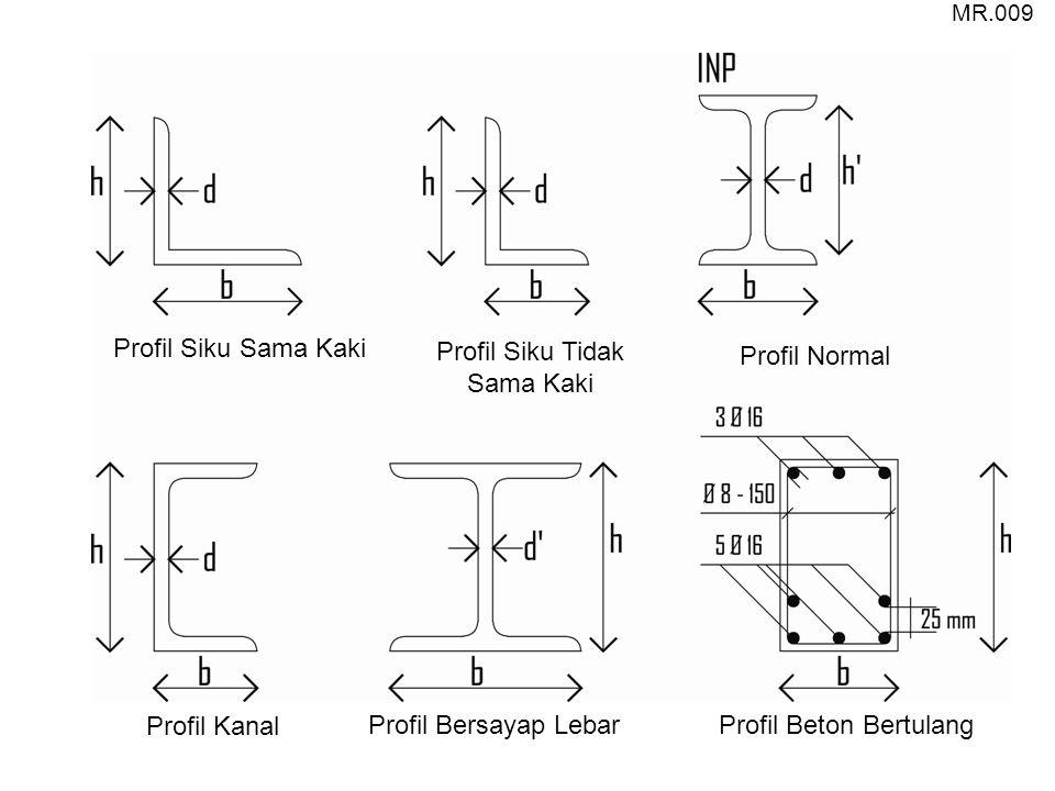 Profil Kanal Profil Siku Tidak Sama Kaki Profil Normal Profil Siku Sama Kaki Profil Bersayap LebarProfil Beton Bertulang MR.009